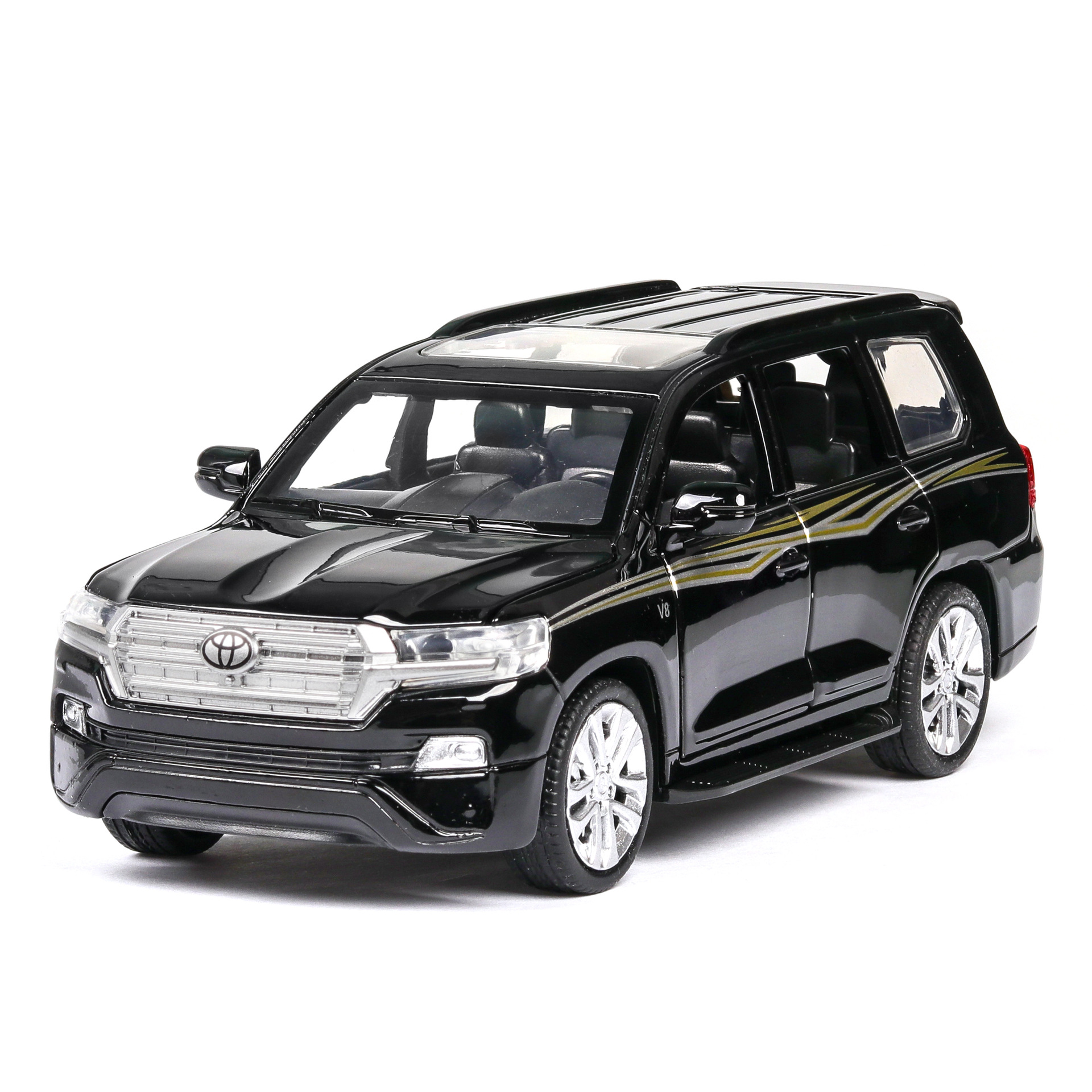 1:32 Car Model Diecast Metal Toyota Land Cruiser Off-Road Vehicle Alloy Toy Car Sound Light Door Pull Back Car Collection Gift