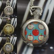 Мода фортепиано велосипед часы кварцевые карманные часы ожерелье женщина брелок часы бронзовый круглый выпуклый объектив стеклянная картина леди 2016 новый