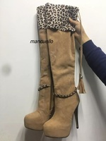 Classy Light Brown Tassel Platform Long Boots Sexy Leopard Grain Turned Over Edge Chain Decorated Fringe