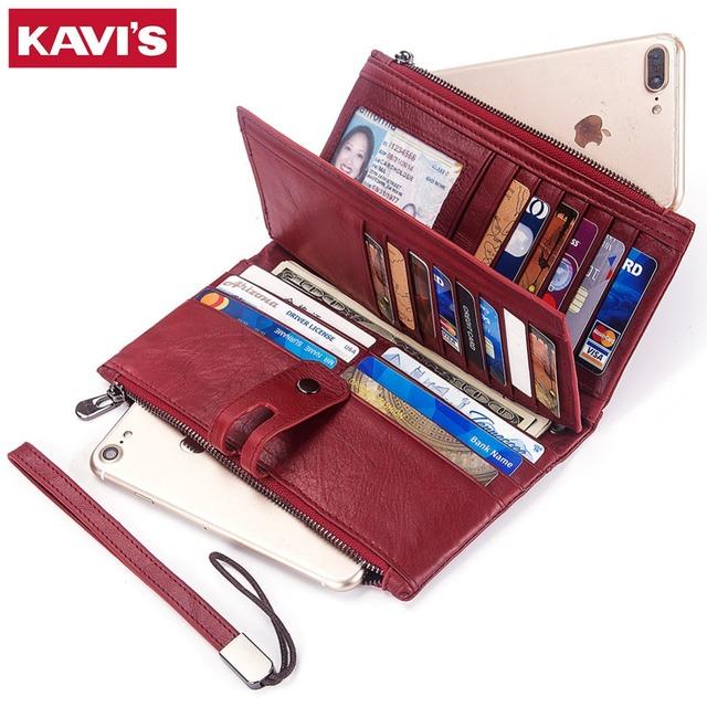 KAVIS Genuine Leather Women Wallet /Coin Purse