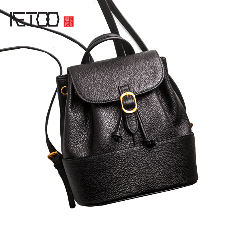 AETOO New leather shoulder bag female genuine leather backpack fashion simple casual backpack black mini bag women new genuine leather women oil nubuck retro women backpack casual backpack casual shoulder bag bucket bag a4625