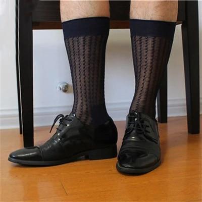 2017 Stripe Men formal Silk socks Suits sheer sexy Socks Transparent Male Sock Dress fetish Sock 2 Color available
