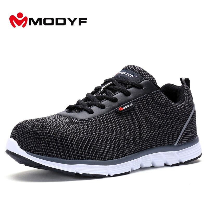 Modyf Для мужчин безопасности Сталь носком Рабочая обувь Легкий дышащий материал Повседневное тапки