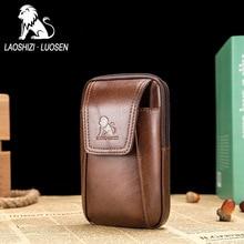 LAOSHIZI LUOSEN vidukļa soma vīriešu ādas Fanny pakete vīriešu ikdienas ceļojuma vidukļa iepakojumam Portatīvie naudas jostas ceļojuma mobilā tālruņa maisiņi