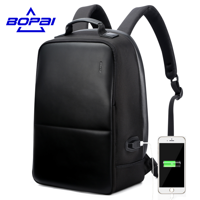 BOPAI Anti Theft Notebook Backpack External USB Port Men Leather Travel Backpack Waterproof Laptop Backpack School Bag mochila voyjoy t 530 travel bag backpack men high capacity 15 inch laptop notebook mochila waterproof for school teenagers students