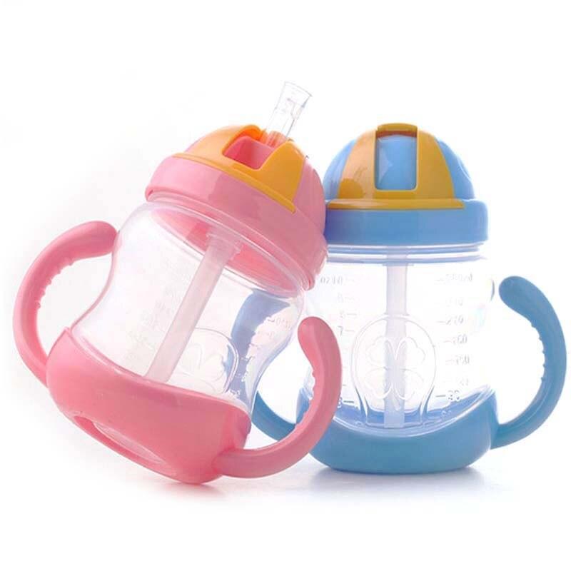 Hell 280 Ml Baby Fütterung Flasche Pp Kunststoff Sippy Tasse Griff Automatische Stroh Non-slip Verteidigung Fallen Anti Blähungen Rabatte Verkauf Flaschen