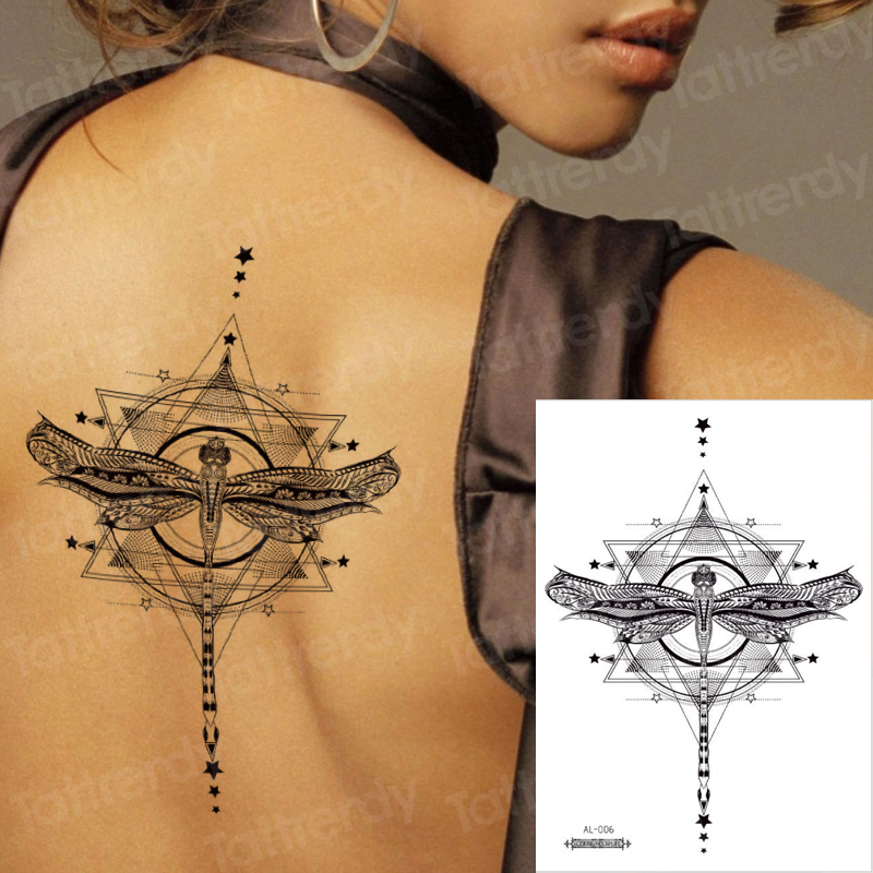 Waterproof Temporary Sticker Geometric Dragonfly Sternum Tattoo Black Triangle Tattoos Body Arm Fake Tatoo Chains Sternal Patch