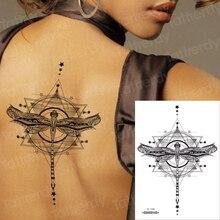 Waterproof Temporary Sticker Geometric dragonfly Sternum Tattoo Black Triangle Tattoos Body Arm Fake Tatoo Chains Sternal patch