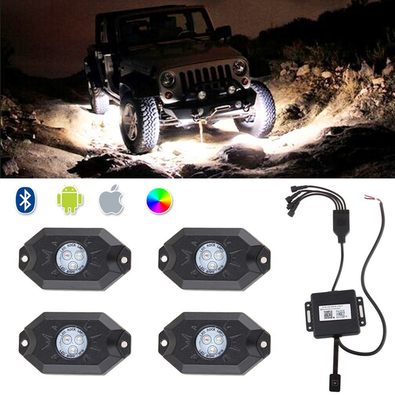 LED Rock Light Kits with 4 pods Lights for JEEP Off Road Truck Car ATV SUV Under Body Glow Light Lamp Trail Fender Lighting