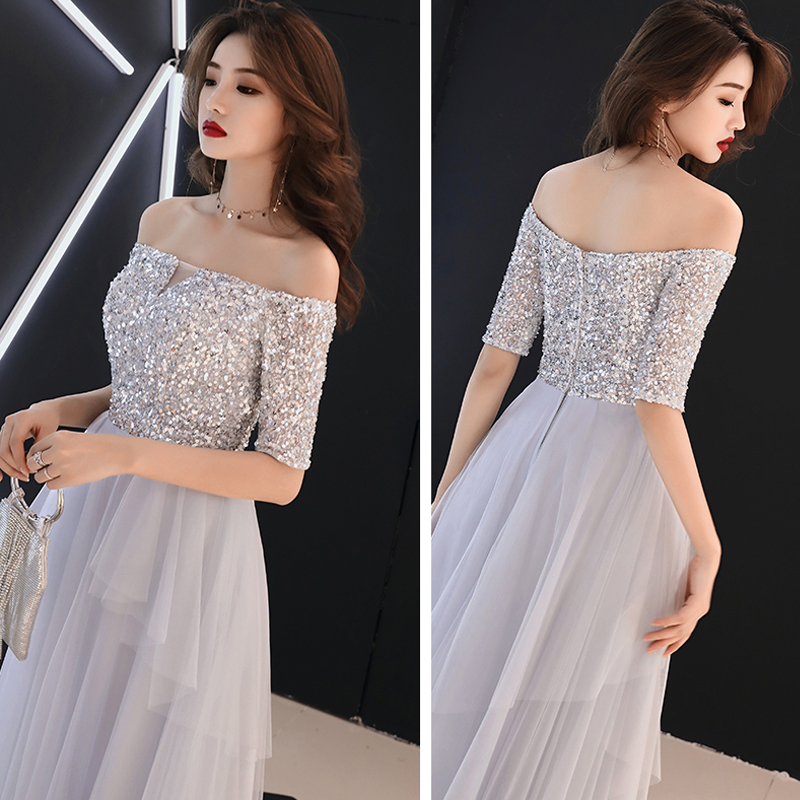 Prom Dress Custom Gray Boat Neck Sequin Bling Dresses Women Party Night A-line Floor Length Plus Size 2019 Vestidos De Gala E448