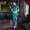 Новое Прибытие Мода Велюр Лонг Cheongsam Китайских женщин Летнее Платье элегантный Qipao Свадебные Платья Размер S, M, L, XL, XXL, XXXL 27624A