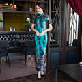New Arrival Fashion Velour Long Cheongsam Chinese Women's Summer Dress Elegant Qipao Vestidos Size S M L XL XXL XXXL 27624A