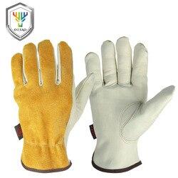 Gants de travail OZERO en cuir de vachette pour hommes gants de soudage de travail gants de protection de sécurité pour Sports de jardin MOTO résistant à l'usure 0007