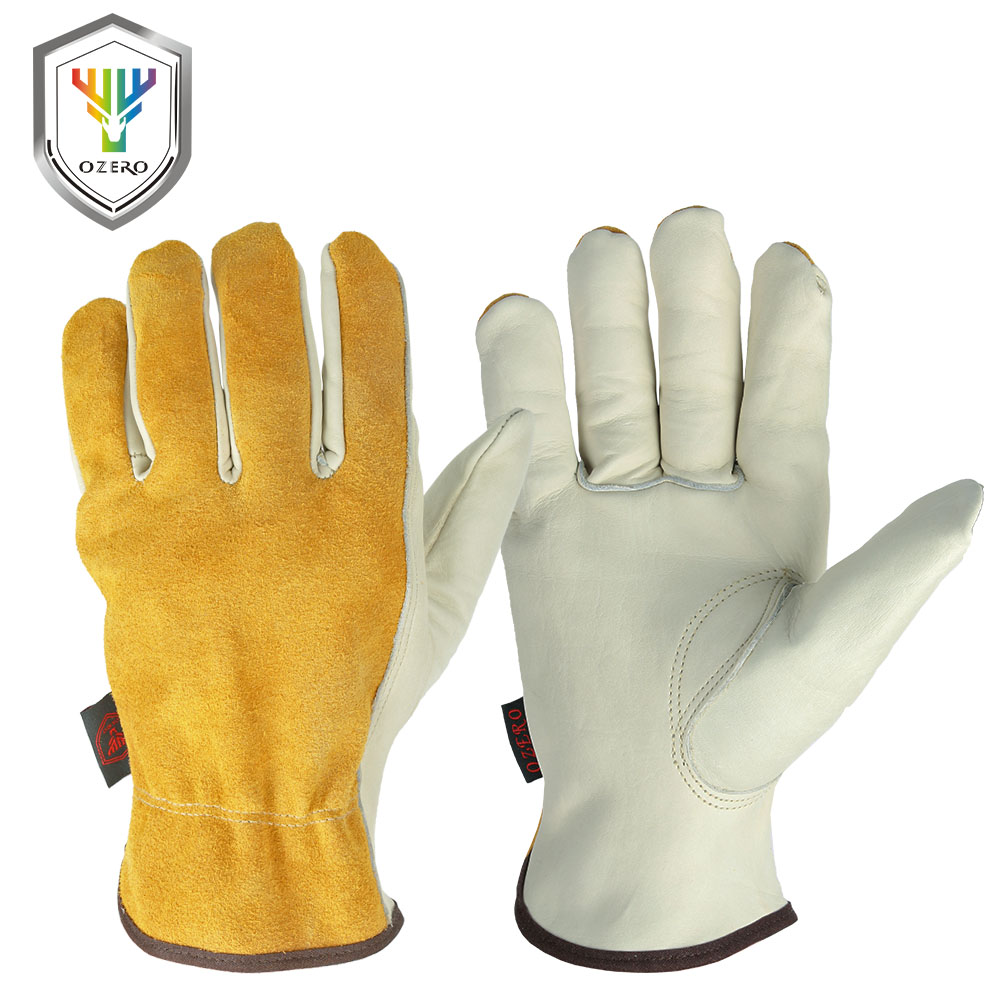 OZERO Work Gloves Cowhide Leather Men Working Welding Gloves Safety Protective Garden Sports MOTO Wear-resisting Gloves 0007