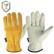 OZERO gants de travail en cuir de vachette hommes travail soudage gants de sécurité protection jardin Sports MOTO résistant à l'usure gants 1008