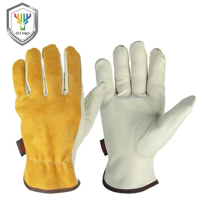 Ozero作業手袋牛革レザー男性作業溶接手袋安全保護庭スポーツモト耐摩耗性手袋0007