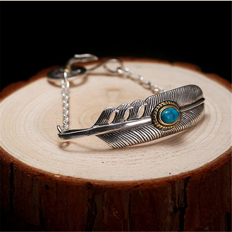 Vintage Indian Style Solid Silver 925 Bracelet Men Women Feather Blue Stone Pure 925 Sterling Silver Top Fashion Chain Bracelet