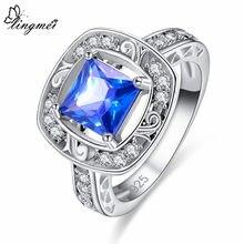 Lingmei novo vem princessmulti-azul cz prata colorring tamanho 6-9 belas mulheres aniversário moda jóias