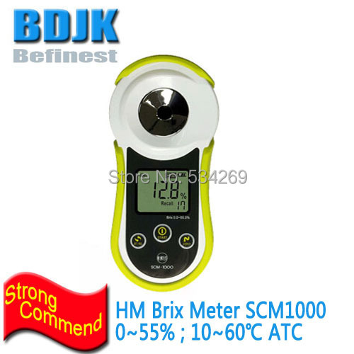 HM Digital Brix Meter 0~55% Big LCD Display with Silicon Protective Cover and Straw термометр hm digital tm3000
