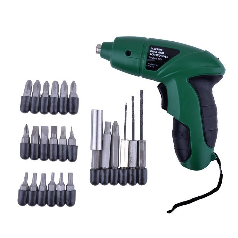ФОТО Mini Small Cordless Electric Rechargeable Screwdriver 4.8V 180RPM +20pcs Screwdriver Bits+3pcs Drill for Home Use DIY Tools