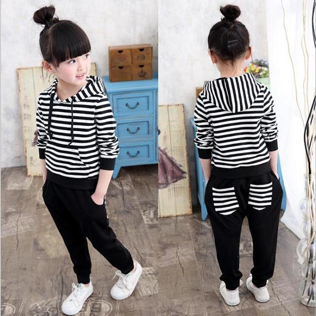 Большой размер 3-15 лет девочки, одежда спортивный костюм мультфильм комплект одежды детская одежда для девочек для chidlren одежда