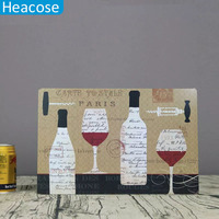 20 30cm Old Wall Metal Painting Art Wine Cup Bottle For Cafe Home Decoration For Bedrooms