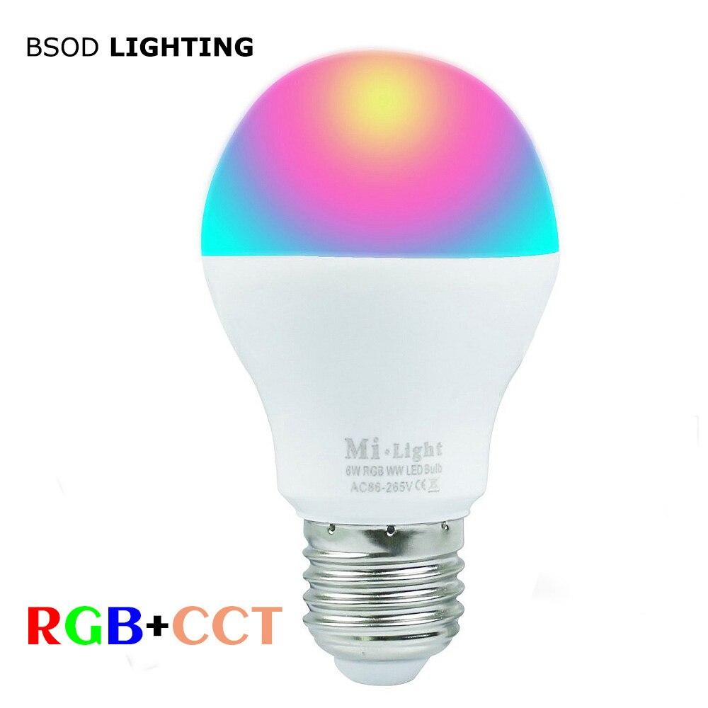 BSOD Milight LED Bulb RF2.4G Wireless E27 6W Wifi Bulb AC86-265V 400-450LM RGBW Cool White/ RGB Warm White Lamp Led Lighting