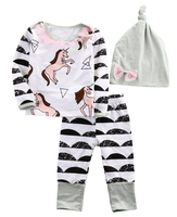 Autumn NEW Cute Newborn Baby Boys Girls Horse Long Sleeve Tops Long Pants Hat Outfits 3PCS