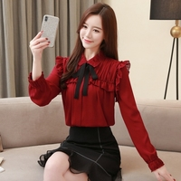 Casual Chiffon Red Women Blouses 2019 Spring Long Sleeve Ruffle Womens Clothing American Style Bow Vintage Shirts Ladies