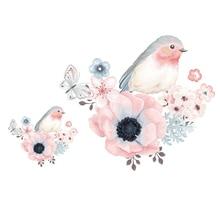 Parches de hierro con transferencia de calor de mariposa y Pájaro de flores para pegatinas para camiseta, aplicaciones para ropa, apliques decorativos 47128