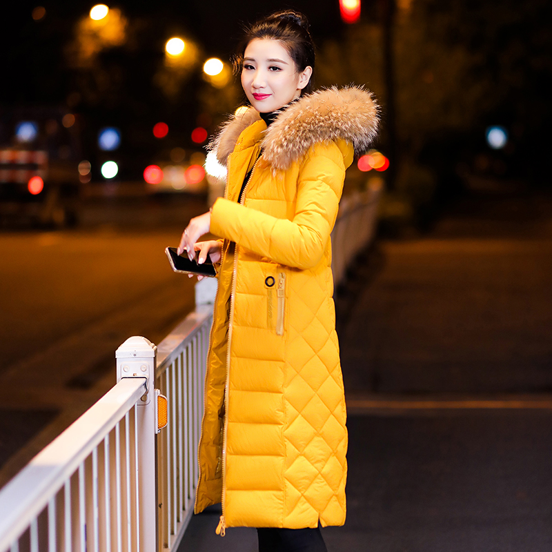 Cru Parkas Sha À Mince Femmes Feminino black De Femelle Casaco D'hiver Capuchon white Taille Long yellow La My586 Plus Col Kmetram 2018 Veste Fourrure Manteau Épais Hong Dou g0Onw7Z