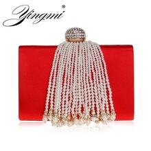 YINGMI Metal Diamonds Women Evening Clutch Bag Tassel Beaeding Handmade Style Ladies Party Wedding Handbags Crystal Female Bag все цены