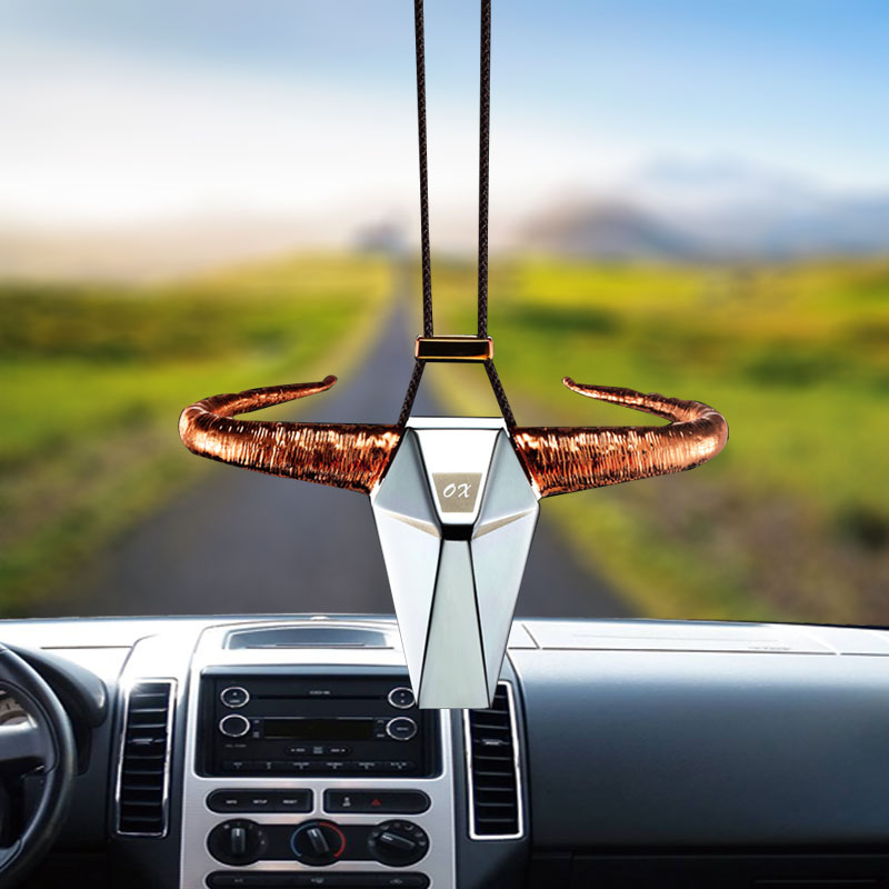 Car Pendant Alloy Cow head hanging Automobiles Rear View ...