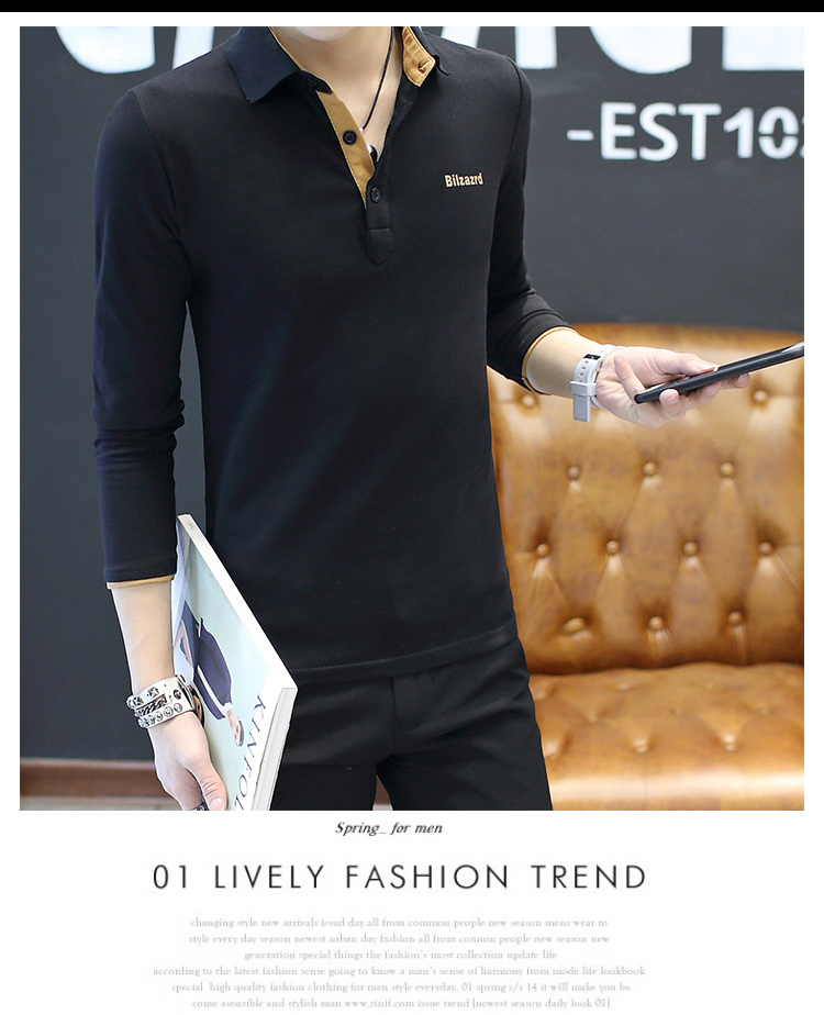 2019 men splicing t-shirts with short sleeves Comfortable in summer youth leisure lapel t-shirts 45