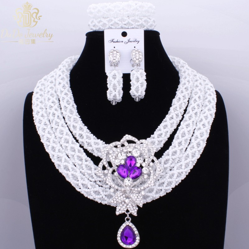 Imitation 3 Layers Nigerian African Wedding Jewelry Sets Dubai Choker Necklace Sets For Women White Beads For Brides 2017Imitation 3 Layers Nigerian African Wedding Jewelry Sets Dubai Choker Necklace Sets For Women White Beads For Brides 2017