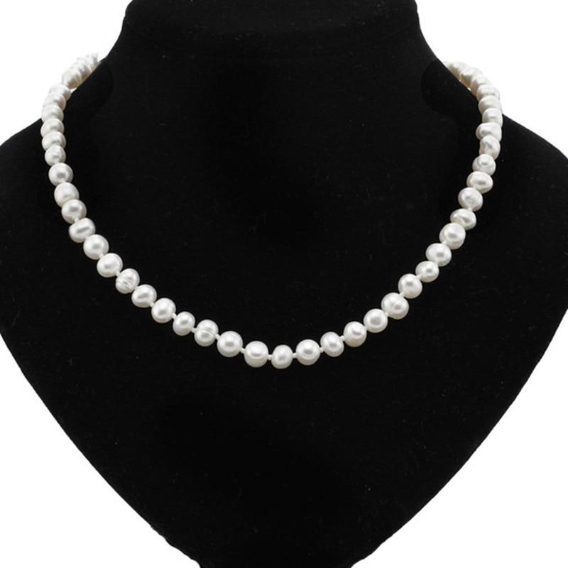 Ny 7-8mm ægte ferskvandsperle halskæde naturlige dyrket perlekæde - Smykker - Foto 1