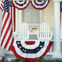 Jonin 1,5x3 футов с принтом в полоску, яркие цвета, американский День Независимости, вышитый Складной вентилятор, флаг, Национальный домашний дек...