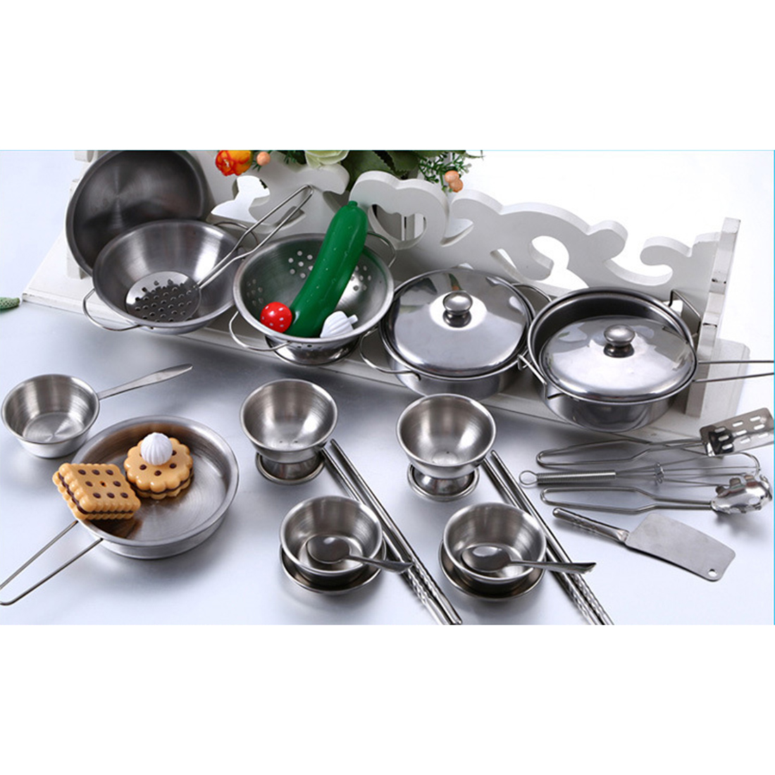 Silver Gifts Toys For Children Large Assortment Stainless Steel Kids House Kitchen Toy Cooking Cookware Children Pretend Play Kitchen Playset Kitchen Toys