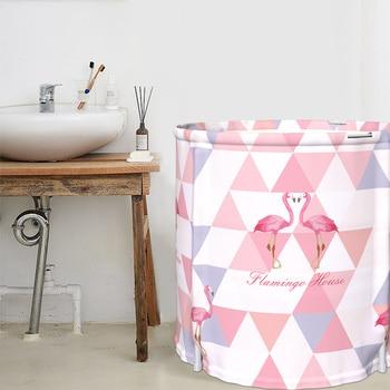Adult Pink Folding Bath Tub Thickening  Insulation Bath Barrel Home Body Bathtub with Cover 65*70cm