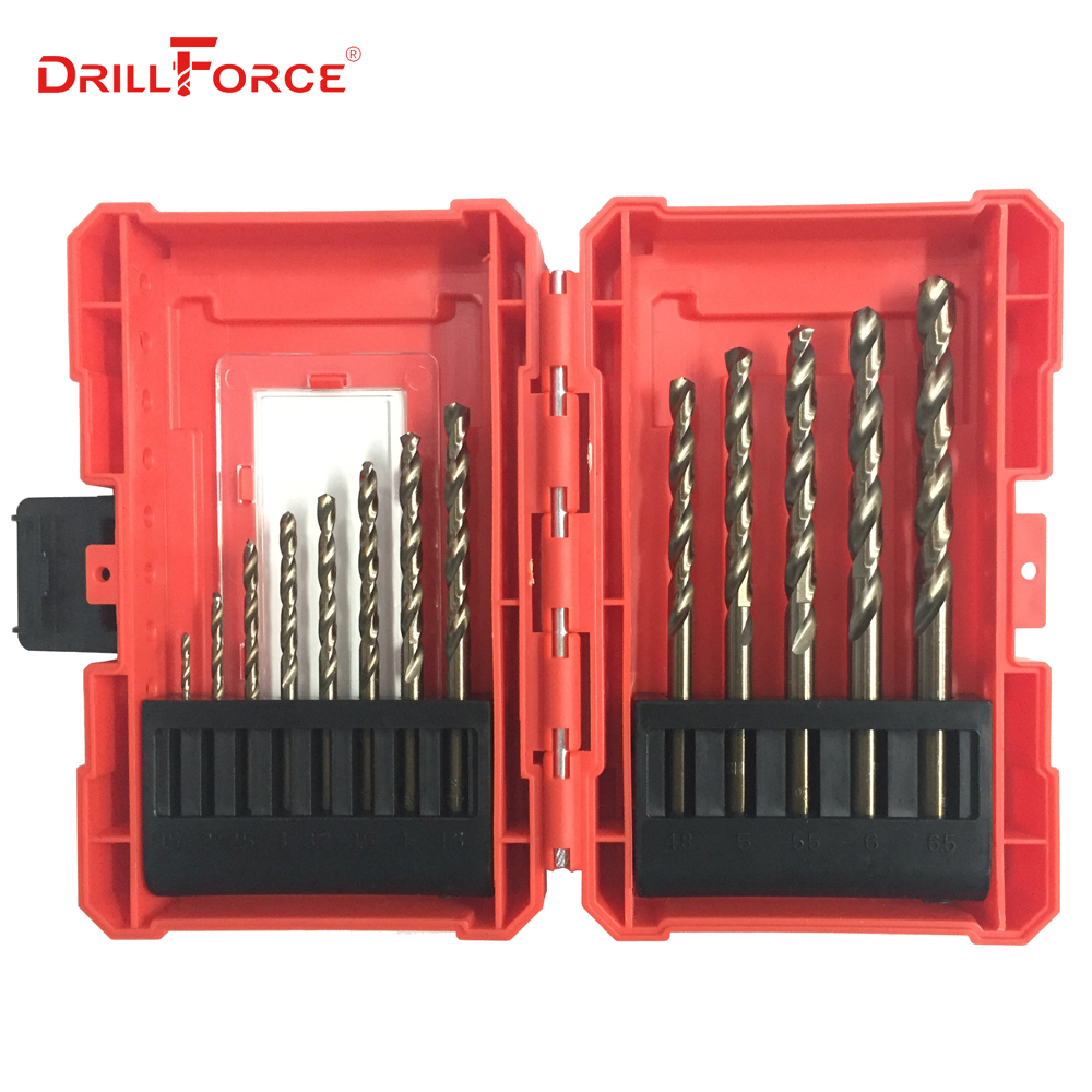 DRILLFORCE 13PCS/Set 1.5-6.5mm Cobalt Drill Bits High Speed Steel HSSCO M35 Twist Drill Bits For Stainless Steel Iron Metal Wood