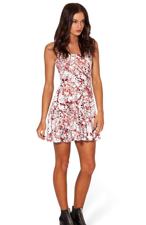 2017 Fashion Summer Beach Dresses Women Tank Vest Blood Splatter 3d Printed Skater  Dress Casual Korean Mini Pleated Dress-in Dresses from Women s Clothing ... 35a4f2d38