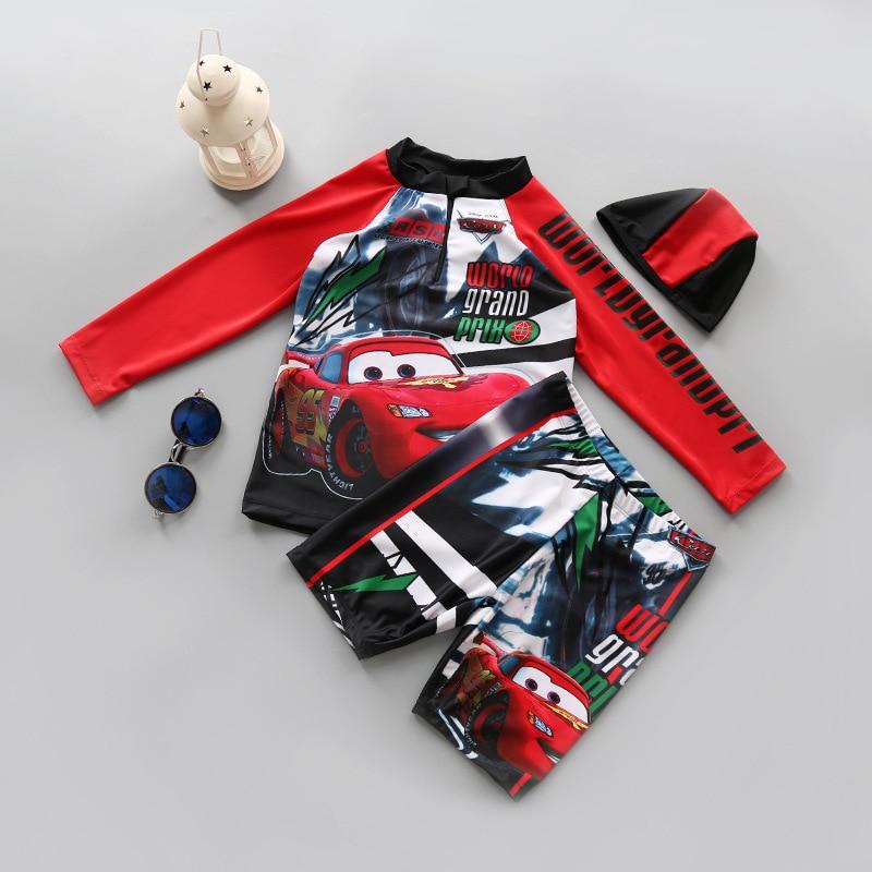 7b9b20f887 3pcs Children Boys Swimsuit for Baby Car Man Superman Swimsuit +hat UPF  SPF50+UV Prodection Spiderman Swimwear Bathing Suit