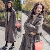 GUUZYUVIZ Abrigos Largos Invierno Para Mujer Elegant Vintage Plaid Woolen Coat Women Thicken Warm Plus Size Long Overwear