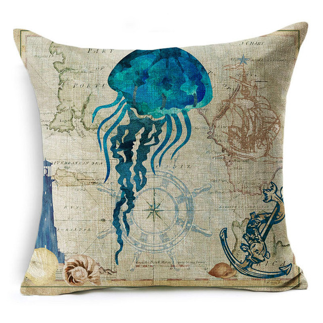 Vintage Style Sea World Cushion Cover 3
