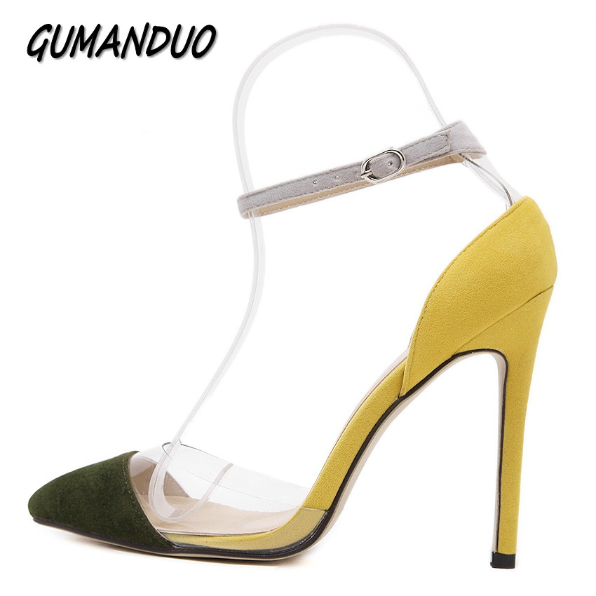 GUMANDUO women pumps fashion Ankle Strap pointed toe high heels shoes woman flock patchwork party wedding ladies shoes buckle women pumps flock high heels shoes woman fashion 2017 summer leather casual shoes ladies pointed toe buckle strap high quality