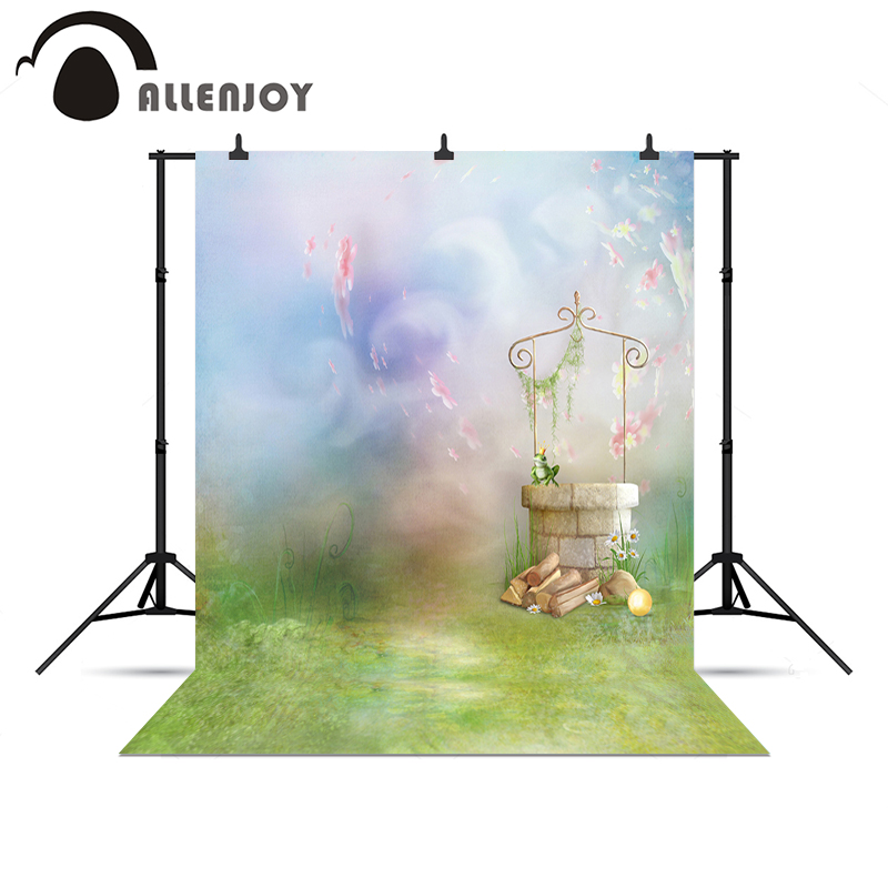 Allenjoy Photo background Fairy tale frog Well grass princess professional vinyl backdrops for photography Christmas presents 2016 new arrival fairy tale photography backdrops grass photo background for newborn photo xt 4184