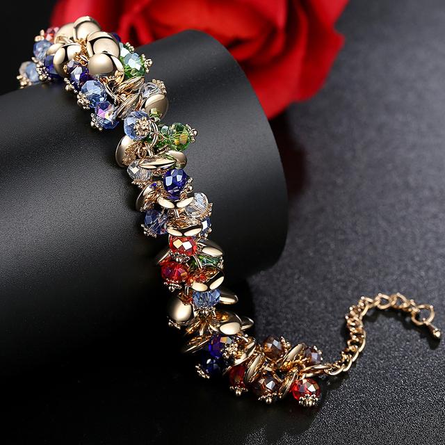 Fashion Charm Bracelets Bangles Fashion Crystal Stone Gold Bracelet For Women Friendship Bracelets Femme Jewelry