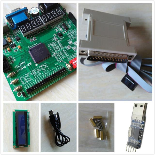 Envío gratis LCD1602 + tablero xilinx xc6slx9-tqg144 xilinx spartan6 xilinx fpga placa de desarrollo fpga placa de desarrollo