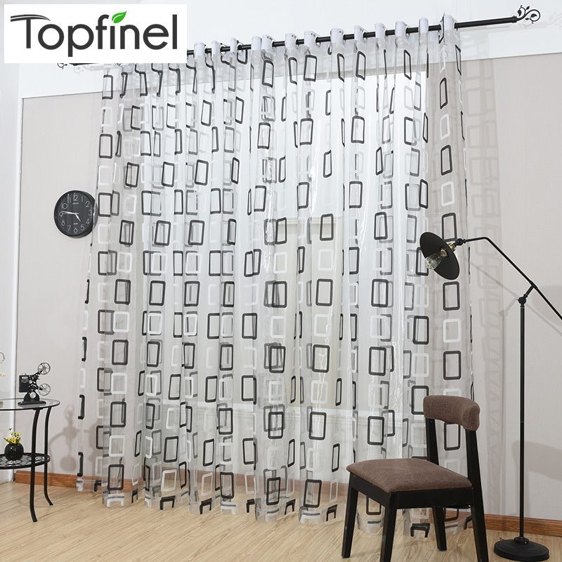 Topfinel Modern Black Plaid Tulle for Window Sheer Gardiner Home Decor for Kitchen Soverom Living Room Gardin for Window Panel