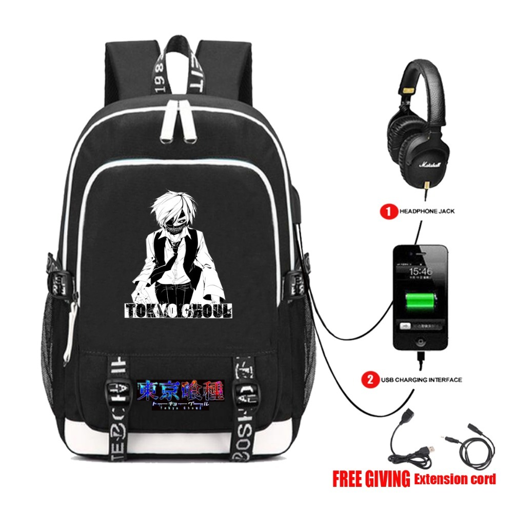 USB Charging Headphone jack Student School Backpack Teenagers travel laptop bag otaku anime Tokyo Ghoul Canvas Backpack 14 style